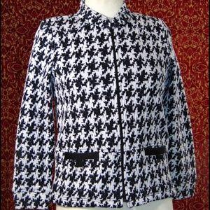 RAFAEL SPORT black herringbone zip front jacket PS